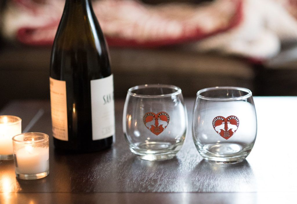 """Two """"Love and Lemurs"""" Valentine's Day wineglasses"""