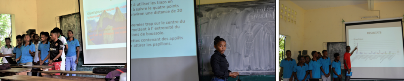 Image of Malagasy students presenting their research.