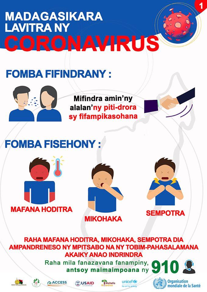 coronavirus prevention poster written in Malagasy