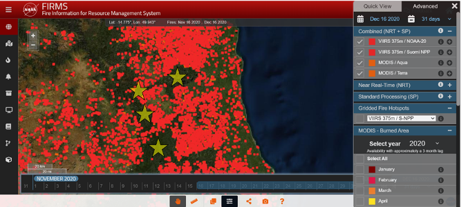 Satellite image of fires burning in northeastern Madagascar