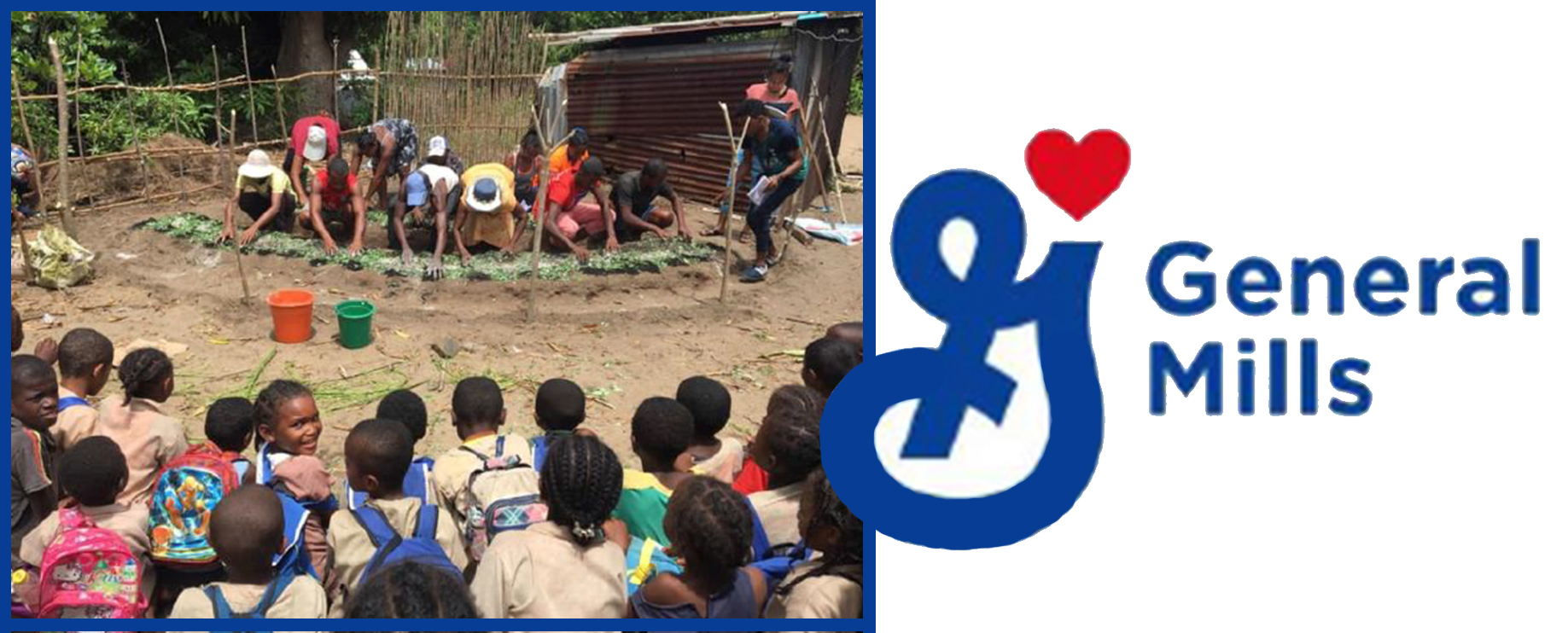 general mills grant logo and photograph of agriculture training in Madagascar